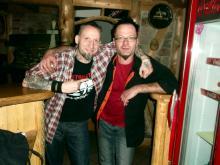 Danny B Helm mit Namensvetter & Woodys Inhaber Danny @ Woodys, Schleiz (15.12. 2.013)