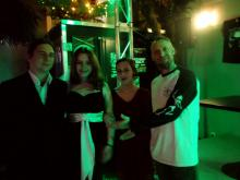 Das heiratswillige Paar, ihre Trauzeugin und Gratulant Danny B Helm @ Headbangers HRC, Schwerin (18.12. 2.013)